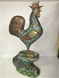 Bronze and Cloisonne Enamel Rooster QING DYNASTY 19th