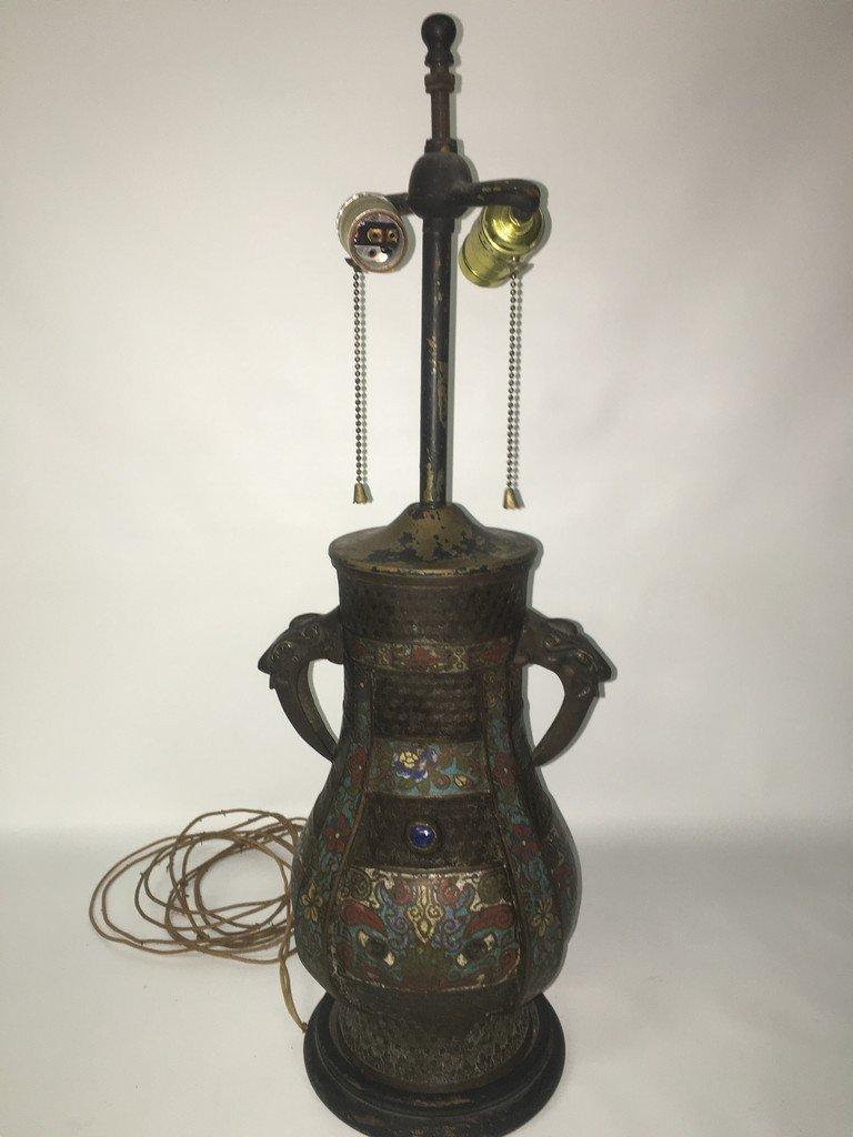 Antique Bronze & Cloisonne Lamp