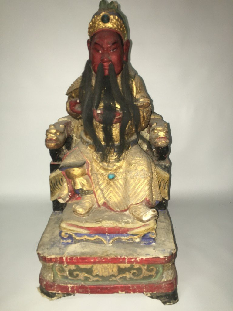 Hand carved oriental statue with horse hair beard