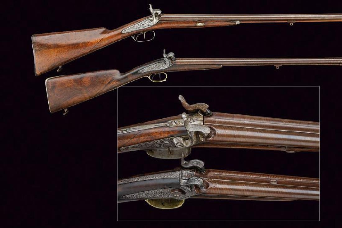 A lot of two percussion shotguns, dating: Mid 19th