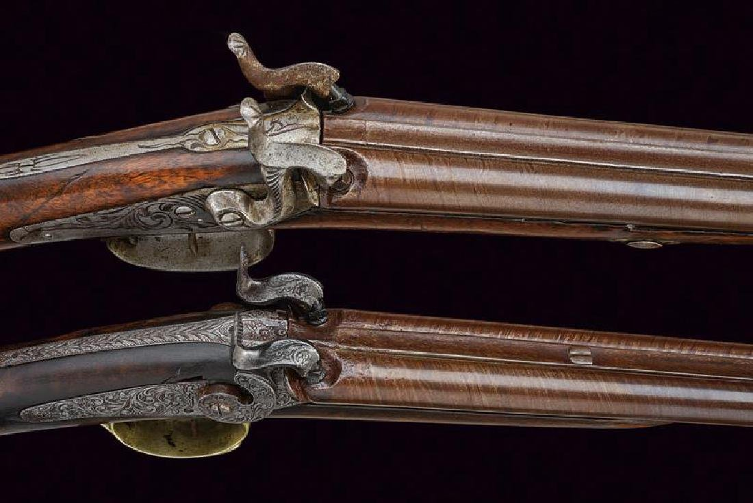 A lot of two percussion shotguns, dating: Mid 19th - 2