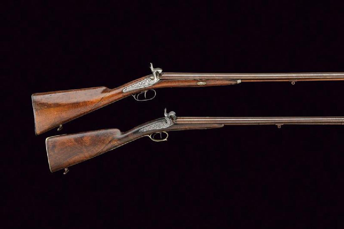A lot of two percussion shotguns, dating: Mid 19th - 4