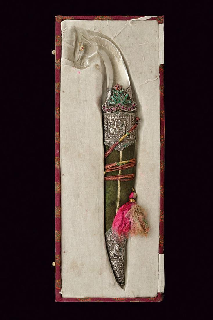 A kandshar with rock crystal and stones hilt, dating: - 6