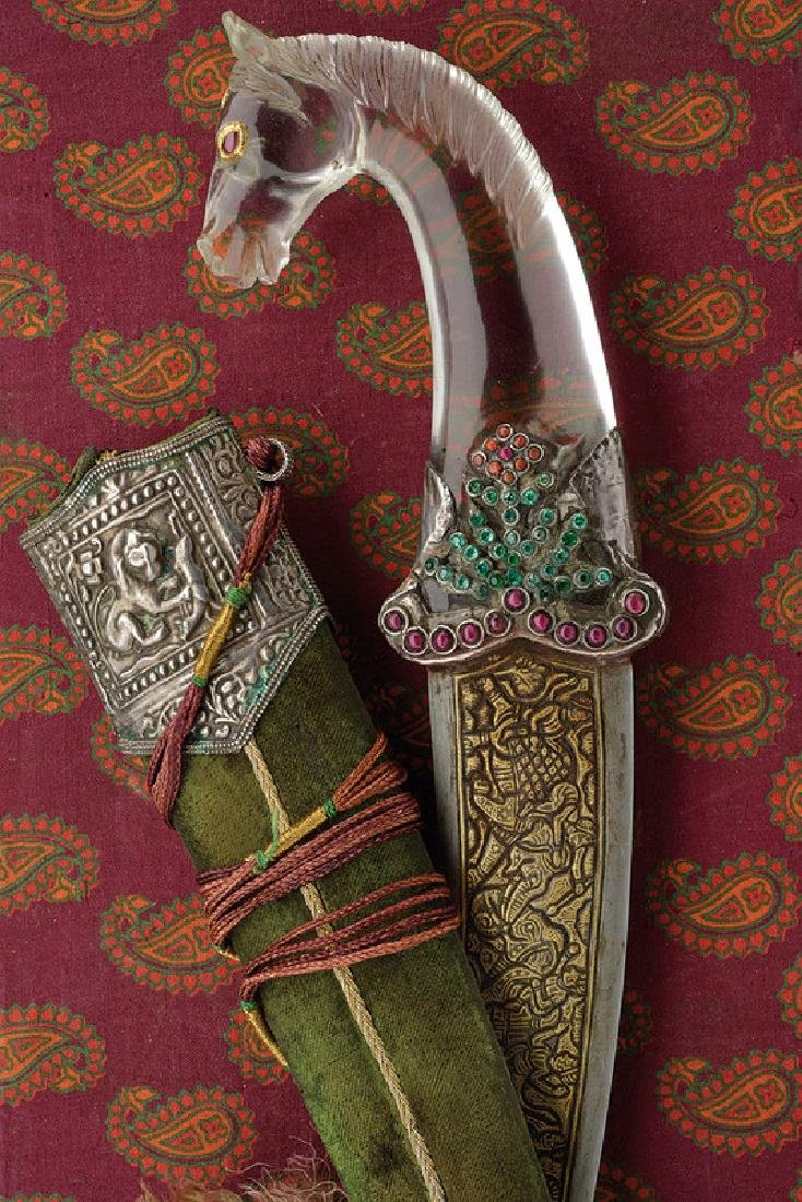 A kandshar with rock crystal and stones hilt, dating: - 7
