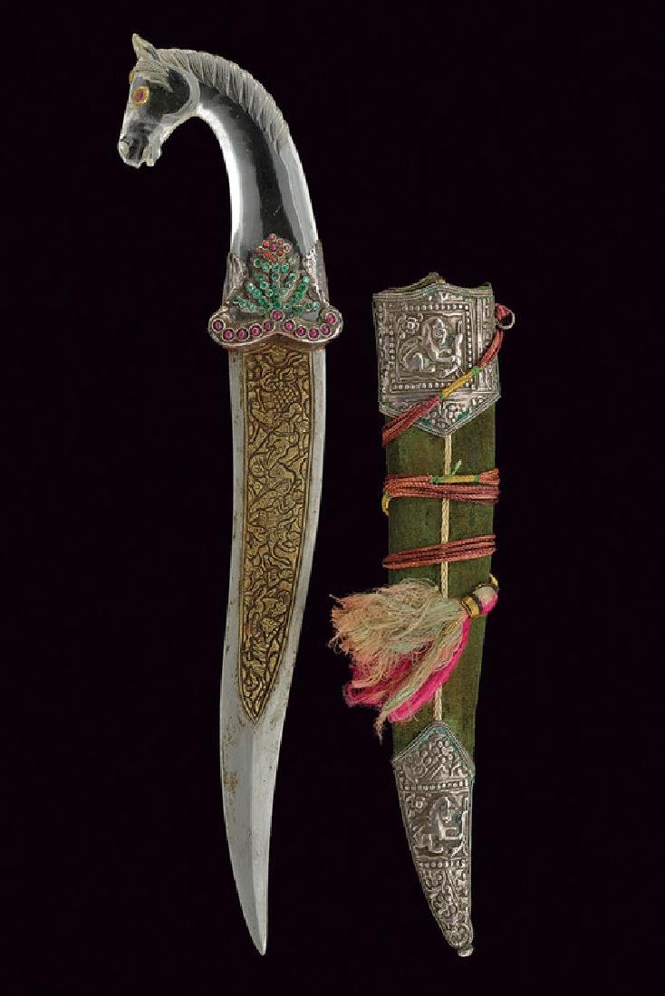 A kandshar with rock crystal and stones hilt, dating: - 8