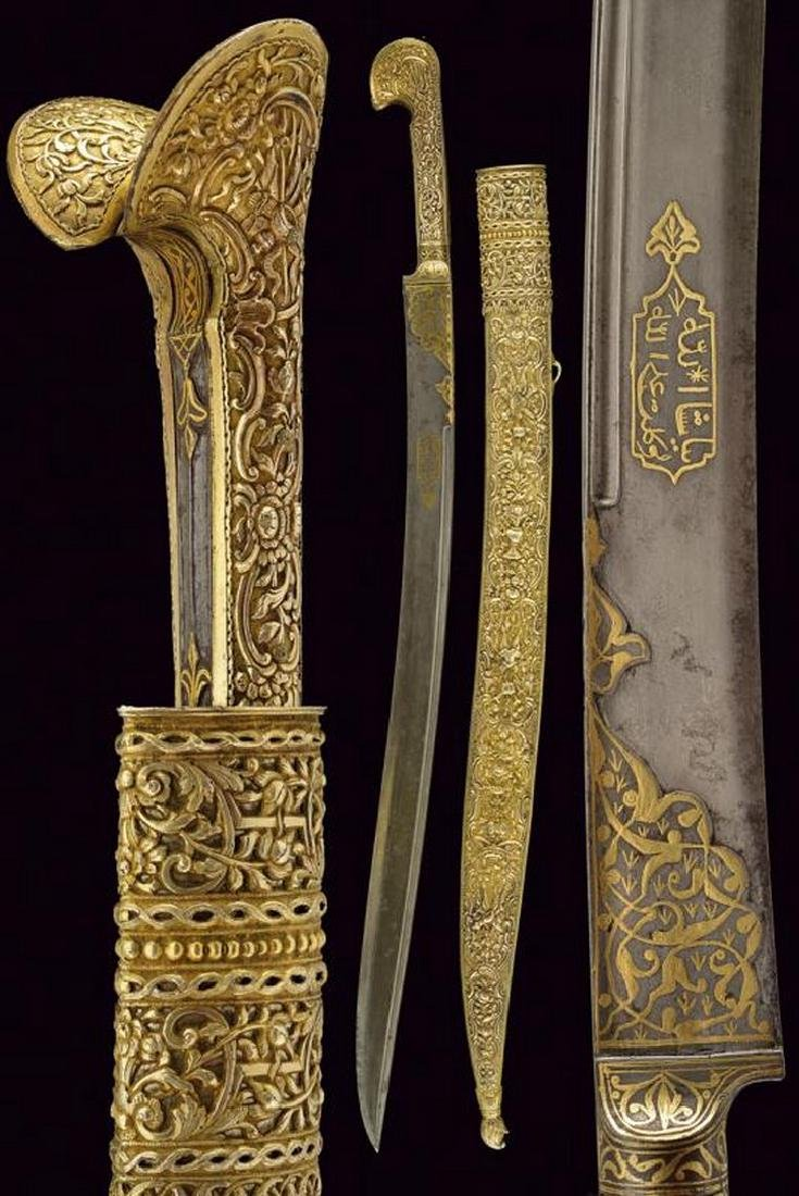 An outstanding yatagan with vermeil hilt and scabbard