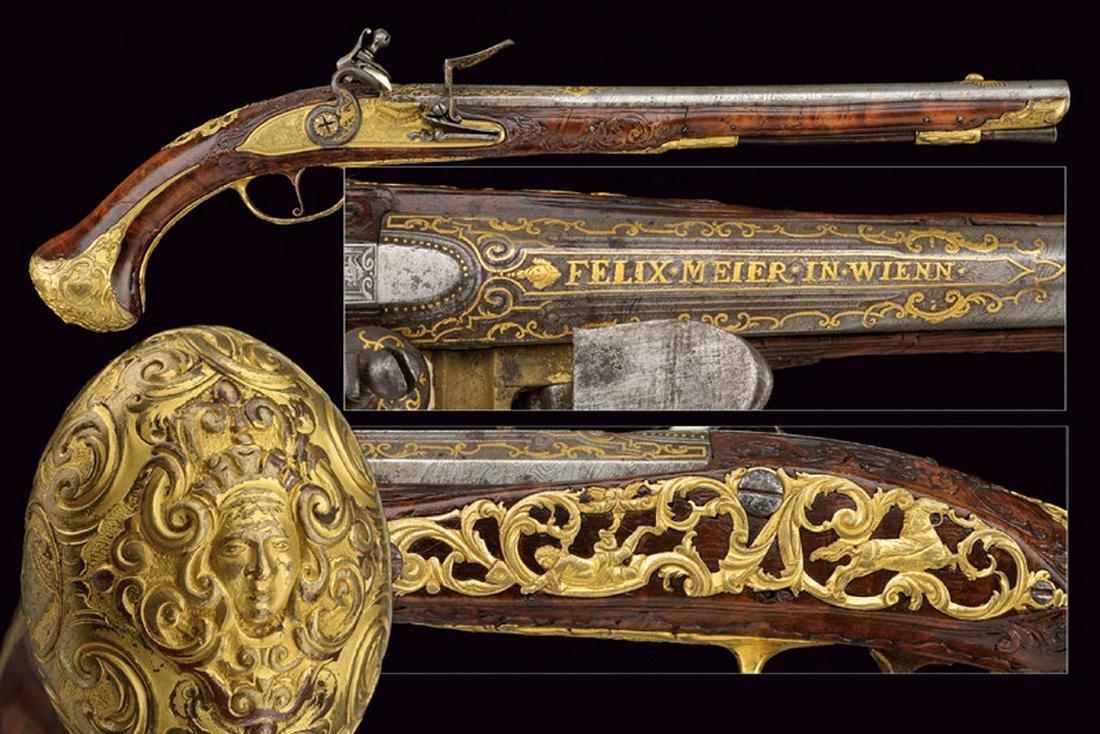 An important flintlock pistol by Felix Meyer