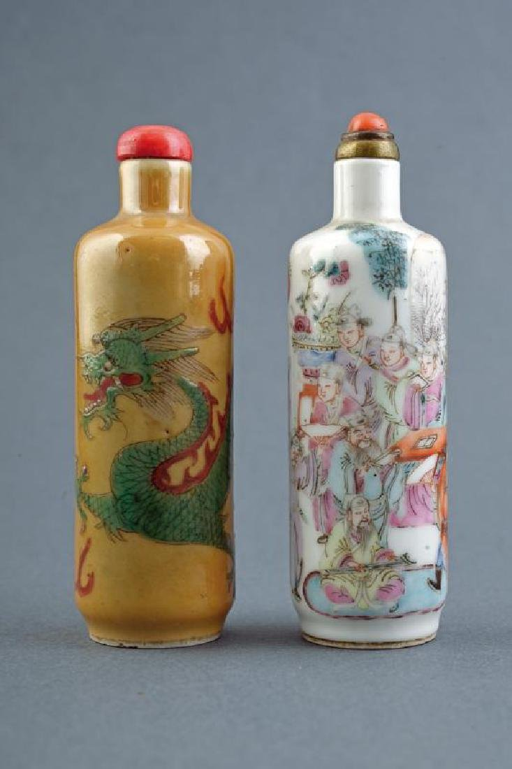 TWO PORCELAIN SNUFF BOTTLE