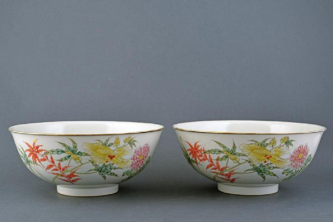 A FINE PAIR OF PORCELAIN BOWLS GUANGXU MARKED AND OF