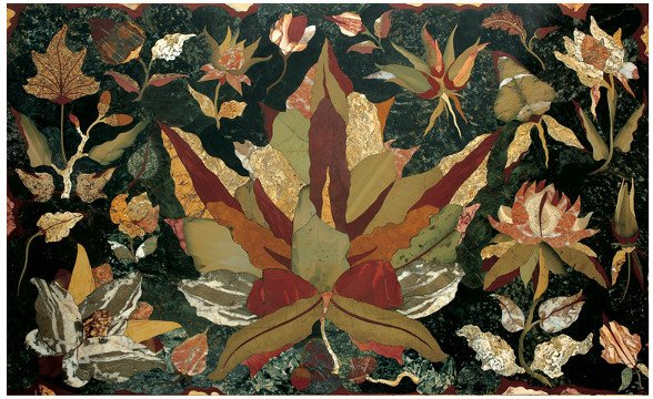 "5: A design of flowers and leaves in ""pietra dura"""