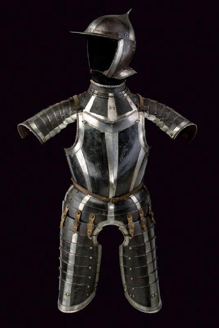 A fine black and white half armour