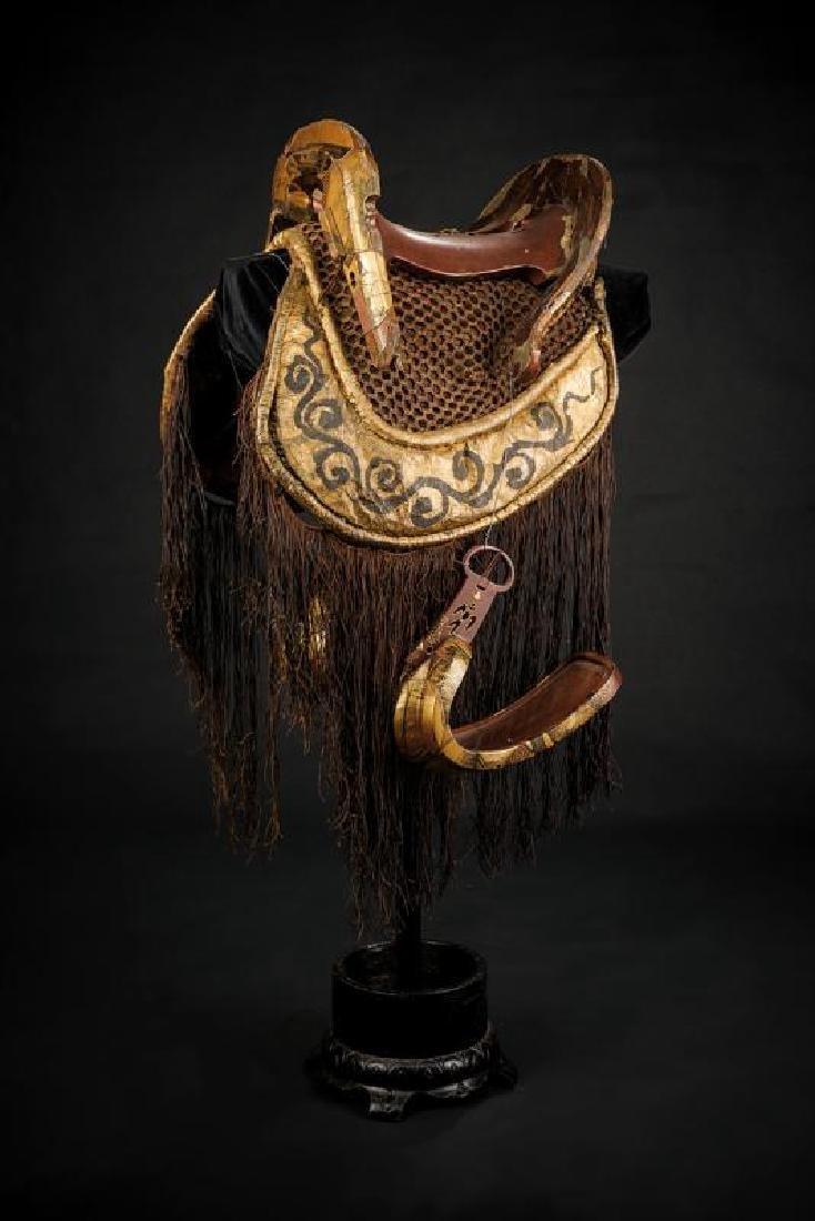 A beautiful and rare kura (saddle) with abumi and