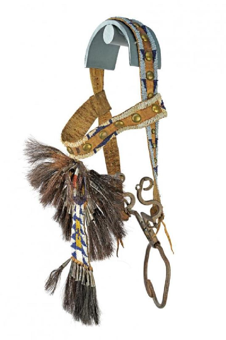 A very scarce decorated bridle with bit of a Crow chief