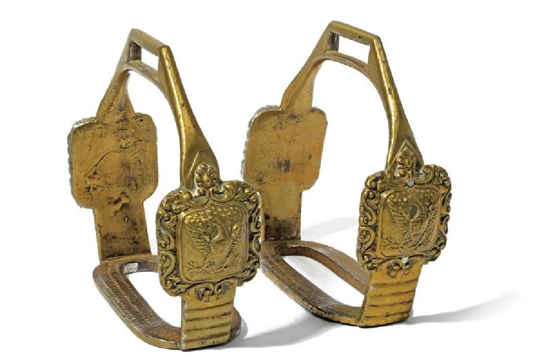 A pair of bronze stirrups