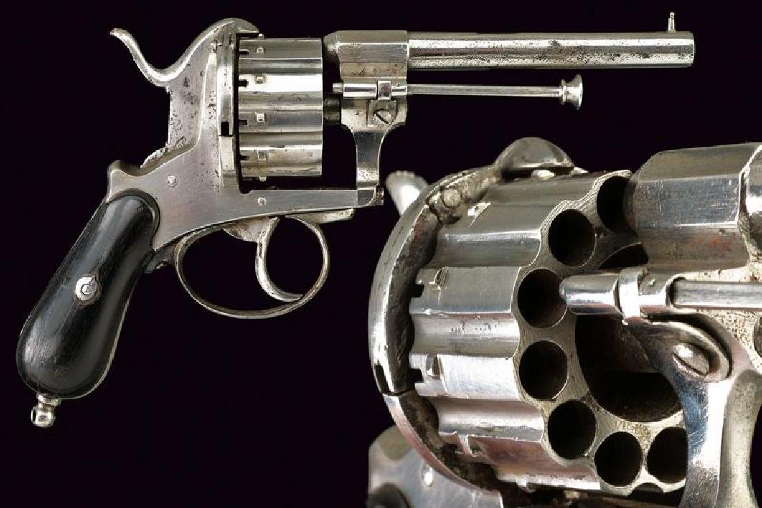 A rare 12 shot pin-fire revolver