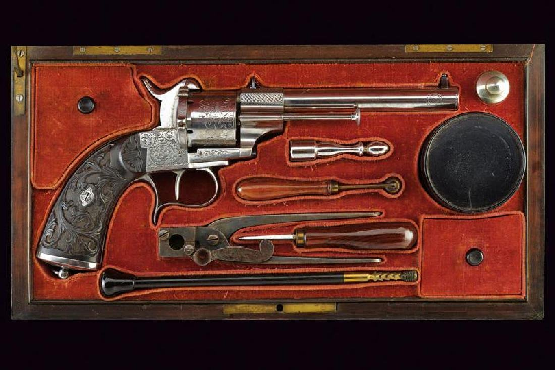 A fine cased Lefaucheux pin-fire revolver by Houllier