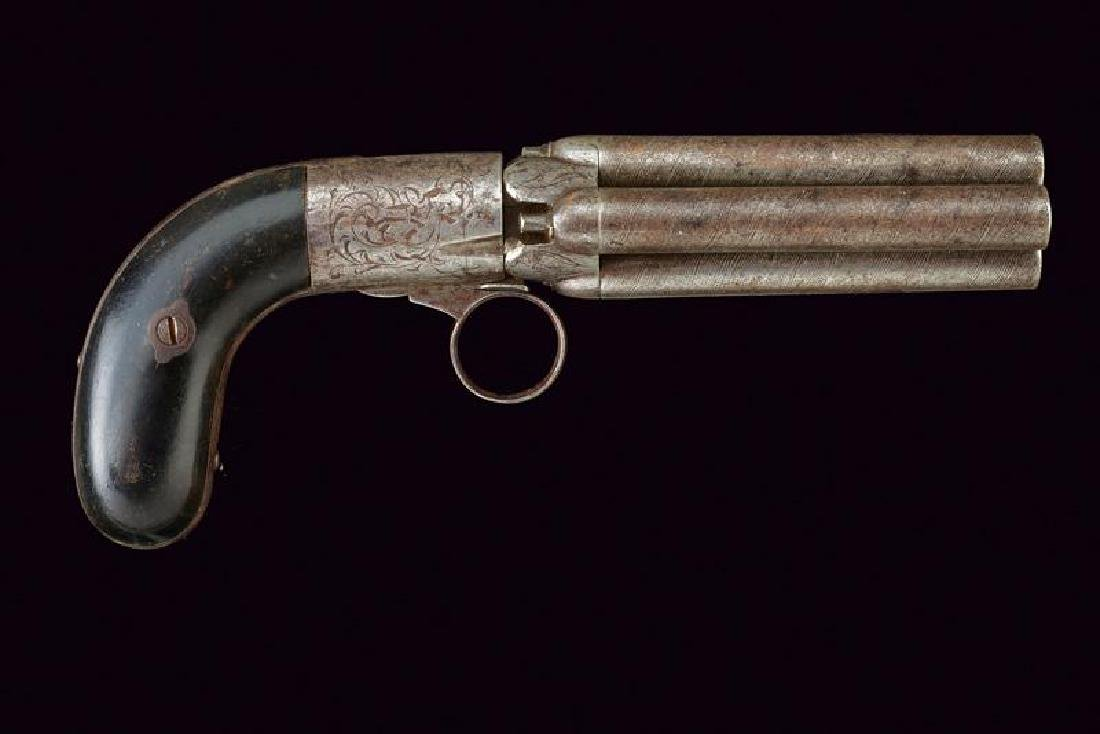 A percussion pepperbox revolver