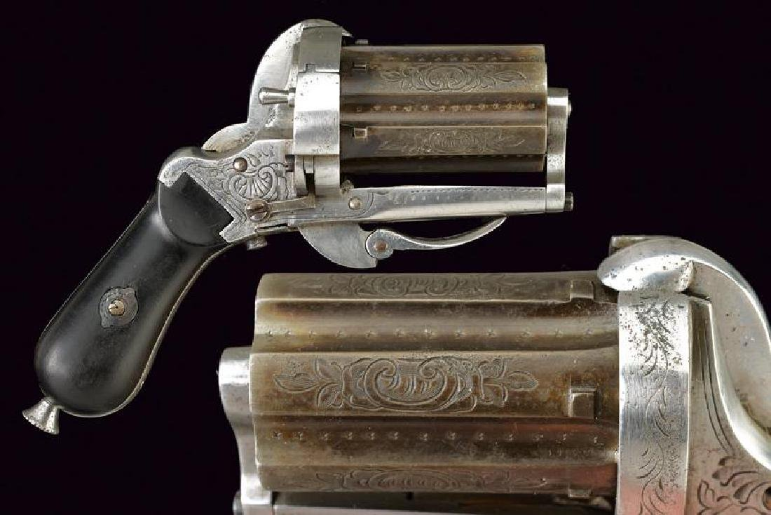 A pin fire pepperbox revolver