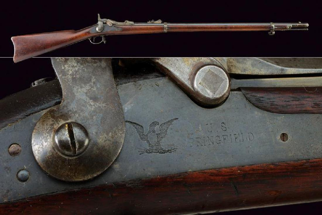 An 1873 model Springfield rifle