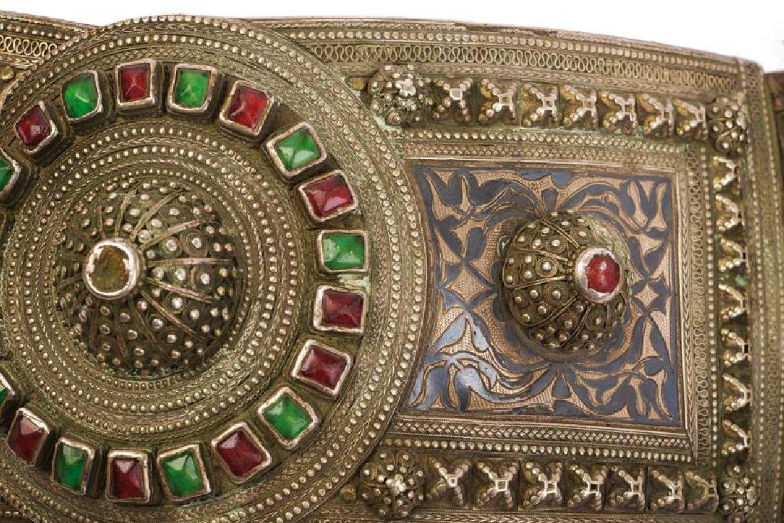 A beautiful silver mounted belt decorated with stones - 4