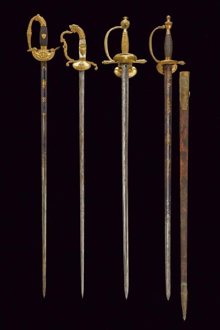 A rare ensemble of four officer's swords