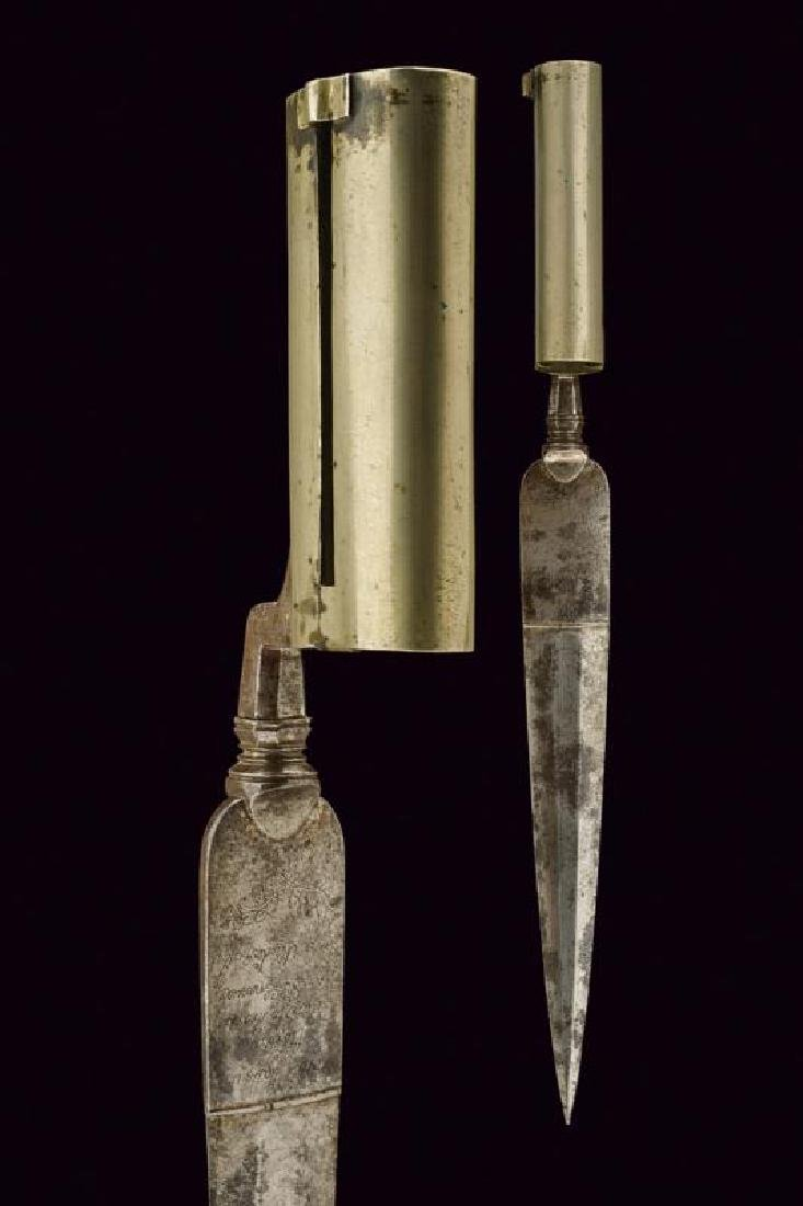 A socket bayonet for a double barrelled gun with