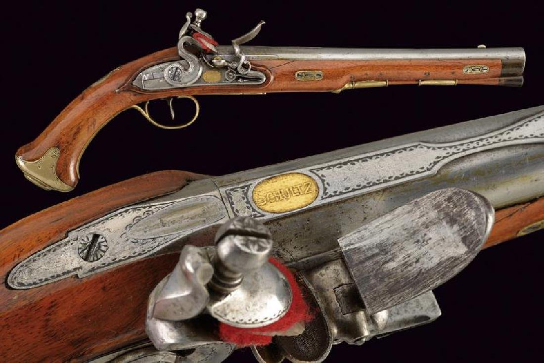 A flintlock pistol by Schulz from the property of