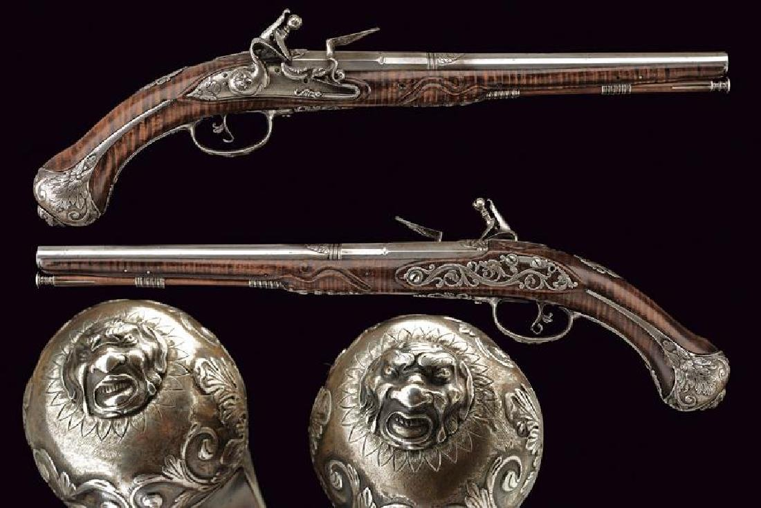 An exceptional pair of flintlock pistols by Pietro