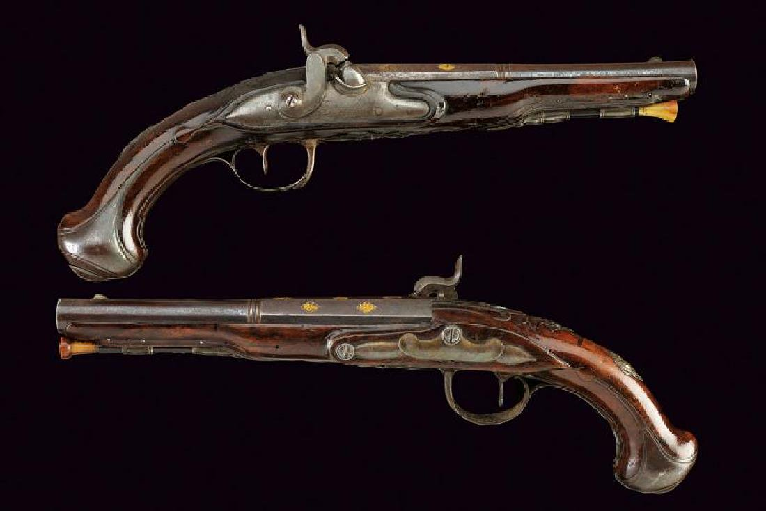 A pair of converted percussion pistols by Barrouilhet