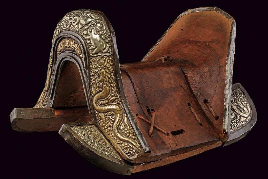 An elegant saddle portraying Garuda