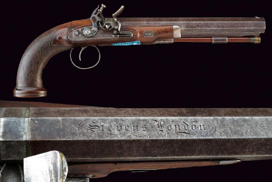A flintlock target pistol by Stevens