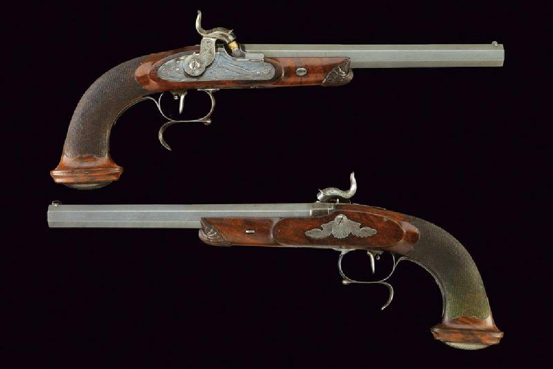 A fine pair of target percussion pistols by Lonfier