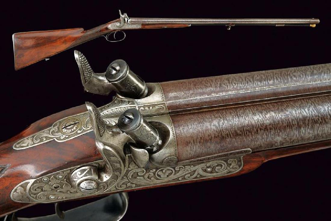 A fine double-barrelled percussion shotgun by Bernard