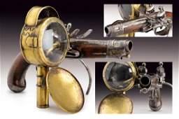 An extremely scarce flintlock-latern pistol by Regnier