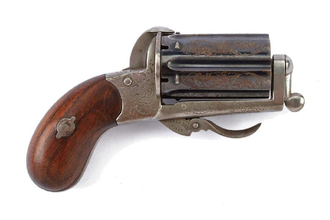 A fine pepperbox pin fire revolver