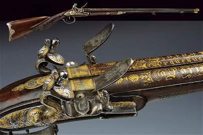 An extraordinary double barreled flintlock gun by Fatou