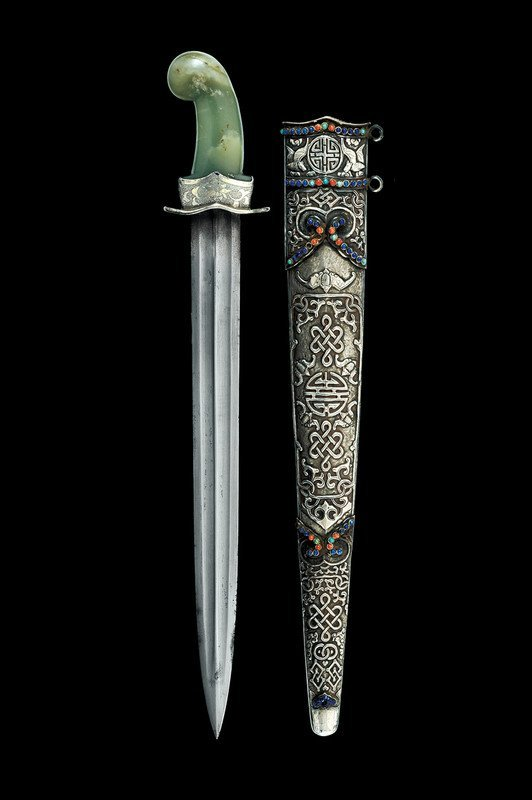 1338: A silver mounted dagger with jade grip