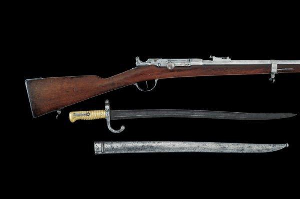 4: A breechloading chassepot rifle con bayonet