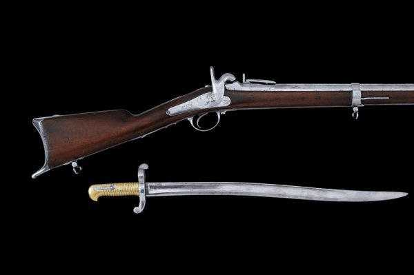 5: A 1842 model percussion rifle with bayonet