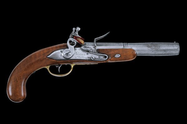 14: A navy blunderbuss flintlock pistol