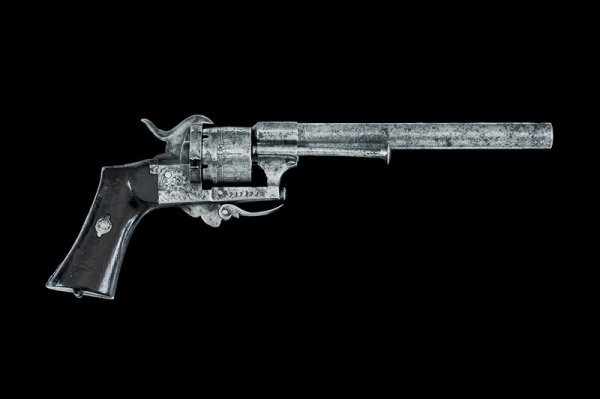 17: A pin-fire revolver