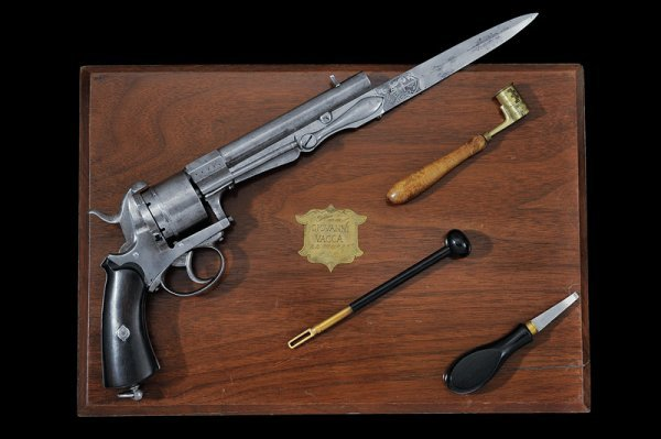 21: A rare cased pin-fire revolver with folding blade