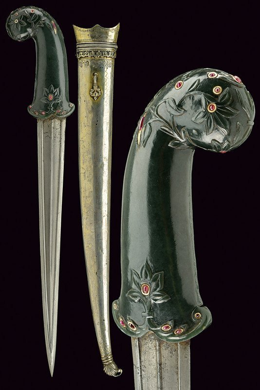 A very fine kandshar with jade hilt and red stones