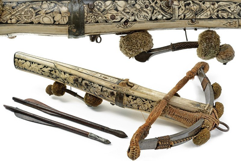 An important crossbow with knightly coat of arms