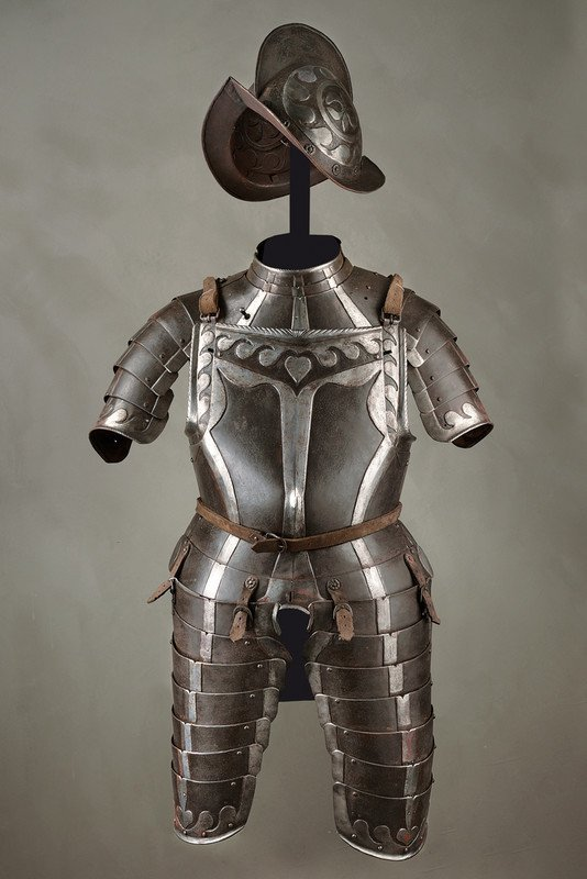 A black and white armour