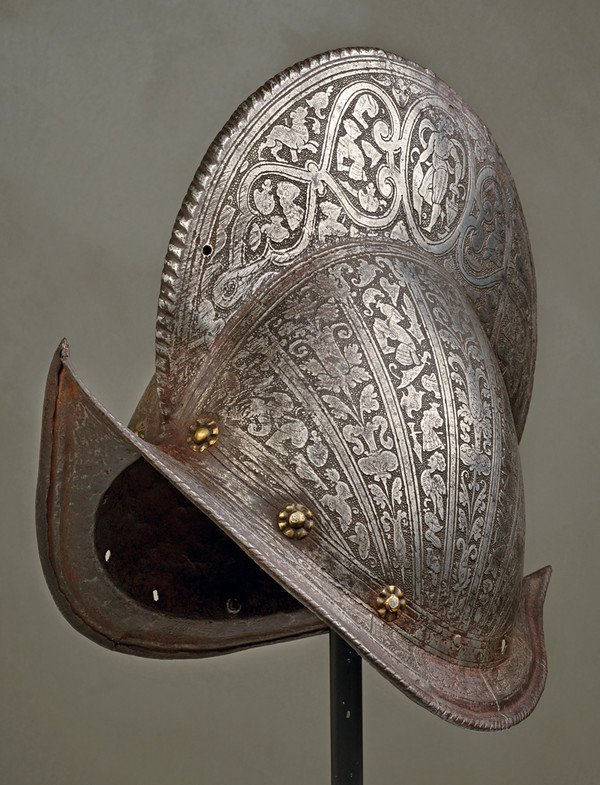 A very rare etched morion with high comb