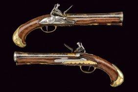 A Fine Pair Of Officers Flintlock Pistols