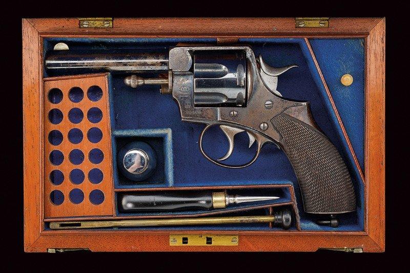 A cased Webley RIC No.1 New Model revolver