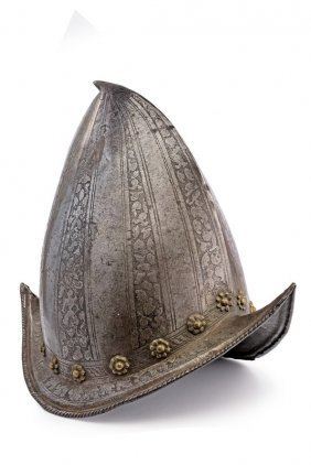 A Cabasset Morion Etched In Pisan Style