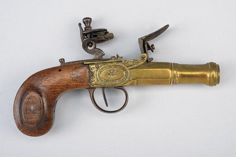A navy flintlock pocket pistol